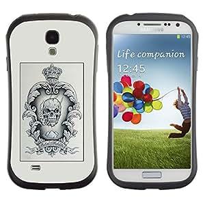 LASTONE PHONE CASE / Suave Silicona Caso Carcasa de Caucho Funda para Samsung Galaxy S4 I9500 / Skull Poster Crown Minimalist Black