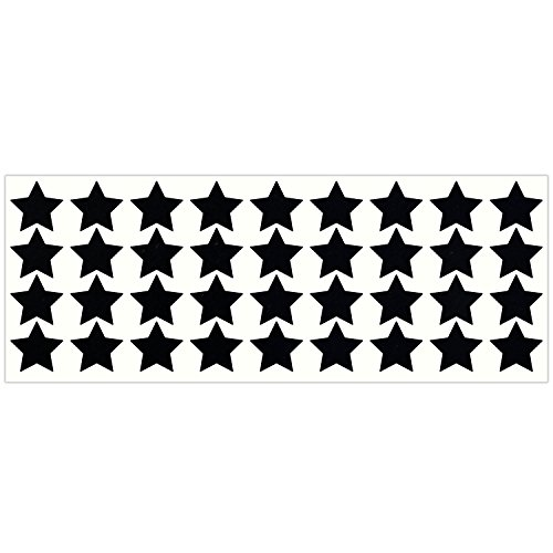 LiteMark Reflective Black 1 Inch Stars Sticker Decals for Helmets, Bicycles, Strollers, Wheelchairs and More - Pack of 36