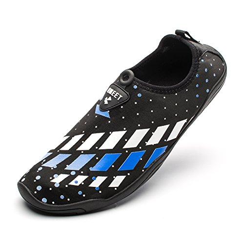 QMEET Water Shoes Barefoot Mens Womens Aqua Shoes Quick-Dry for Swim, Walking, Yoga, Lake, Beach, Garden, Park, Driving (US Women 9/Men 8
