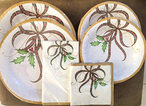 C.R. Gibson Lenox Holiday Nouveau Disposable Paper Plates & Napkins Bundle - 68 Pieces - Serves 16