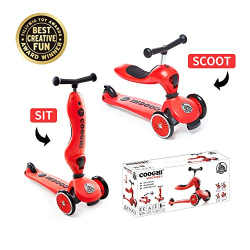 COOGHI V2 Kick Scooter for Kids 2-in-1 3 Wheels T-bar 3 Adjustable Height Foldable Scooters Lean to Steer for Toddlers Best Gift Ages 1-5