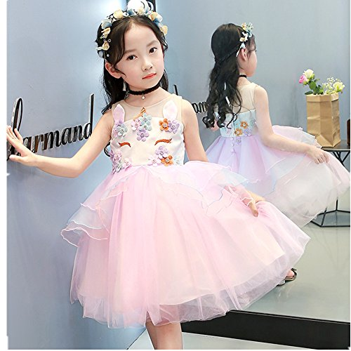 a624565ef8e Baby Girls Beading Flower Unicorn Costume Cosplay Princess Dress up Birthday  Pageant Party Dance Outfits Gowns