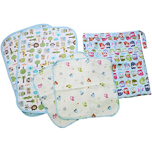MyKazoe Baby Essentials Gift Set, Waterproof Wet Bag + 2 Waterproof Lap Pads + 2 Muslin Wipe Cloth - Set of 5 (Blue Love)