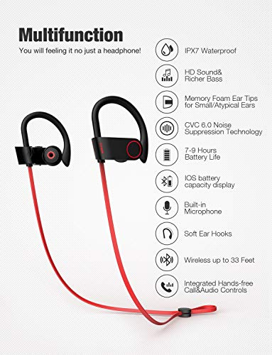 Otium Bluetooth Headphones, Best Wireless Earbuds IPX7 Waterproof Sports Earphones w/Mic HD Stereo Sweatproof in-Ear Earbuds Gym Running Workout 8 Hour Battery Noise Cancelling  Headsets