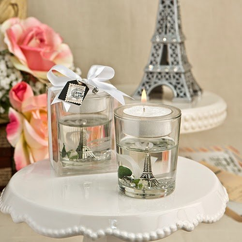 50 Eiffel Tower Gel Candle Holder With White Rose And Leaf Detail by Fashioncraft