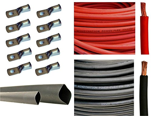 "4 Gauge 4 AWG 15 Feet Red + 15 Feet Black Welding Battery Pure Copper Flexible Cable + 10pcs of 3/8"" Tinned Copper Cable Lug Terminal Connectors + 3 Feet Black Heat Shrink Tubing"