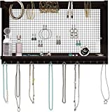 Rustic Jewelry Organizer - Wall Mounted Jewelry Holder Organizer with Removable Bracelet Rod and 16 Hooks - Perfect Earrings, Necklaces and Bracelets Holder - Vintage Jewelry Display