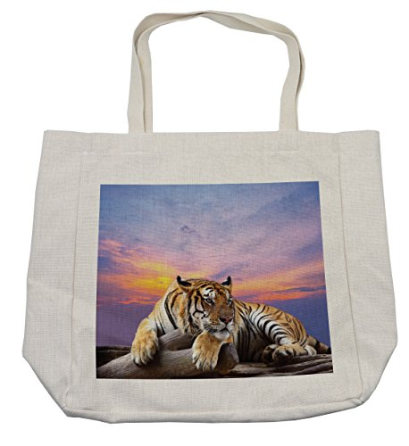 Ambesonne Safari Shopping Bag, Tiger Lying on Wood Blue Sky Colorful Sunset Pose Strpies Claws, Eco-Friendly Reusable Bag for Groceries Beach Travel School & More, (Tiger Woods Costume Ideas)