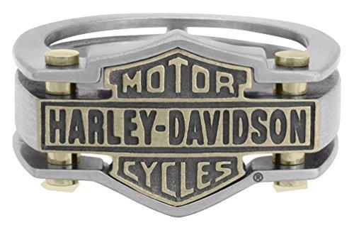 Harley-Davidson Mens Industrial Brass & Steel Ring Stainless Steel HSR0036 (12) ()