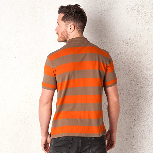Timberland Herren Bunt-Gestreiftes Rugby Polohemd Orange