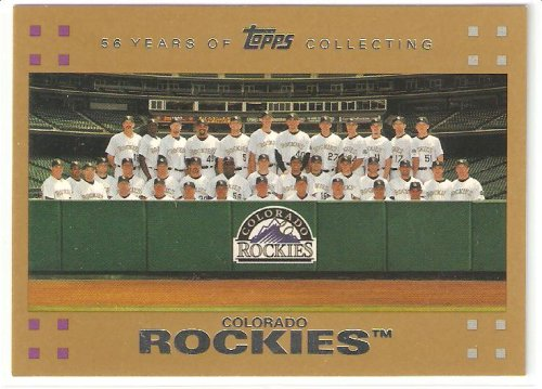 2007 Topps GOLD # 601- Colorado Rockies TEAM PHOTO CARD - Baseball Card - Limited Edition Gold Version Serial #d to 2007 - Mint Condition - Shipped in Protective Display Case!