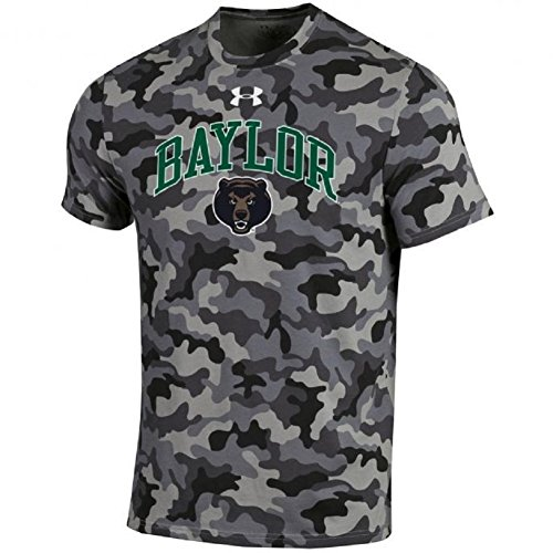 Under Armour NCAA Adult Short Sleeve Charged Cotton Grey Camouflage Performance Tee-Baylor Bears-Large