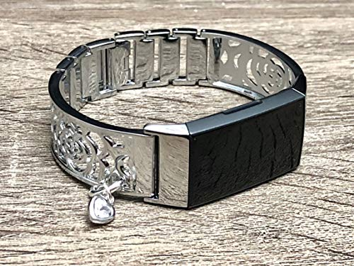 (Elegant Silver Bracelet for Fitbit Charge 3 Band Women Jewelry Handmade Flowers Design Fitbit Charge 3 Bracelet with Crystal Heart Charm Medallion Luxury Fitbit Charge 3 Bangle Band)