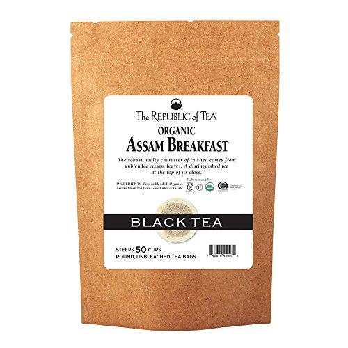 - The Republic Of Tea Organic Assam Breakfast Tea, 50 Tea Bags, Premium Assam Black Tea, Certified Organic