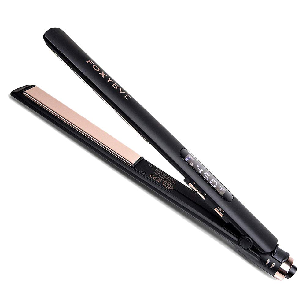 FoxyBae ROSE GOLD TRÉS SLEEK Titanium Flat Iron - Digital Temperature Control Ionic Hair Straightener with Auto Shut Off and Quick Heating - MSRP $179
