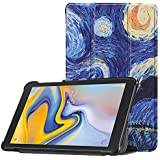 "Galaxy Tab A 8.0"" 2018 Version SM-T387 Case DWaybox Painted Pattern Slim Lightweight Tri Fold PU Leather Folio Case for Samsung Galaxy Tab A 8.0 Inch 2018 Version SM-T387 (The Starry Night)"