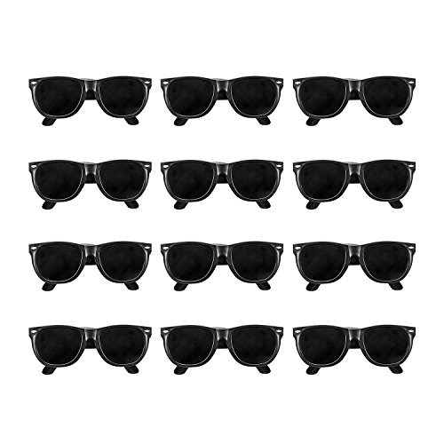 Vintage Black Wayfarer Style Sunglasses (Qty. 12 - Sunglasses Party Supplies