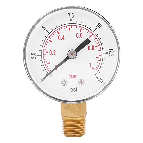 Low Pressure Gauge For Fuel Air Oil Or Water 0-15psi/0-1bar BSPT Bottom Mount ()