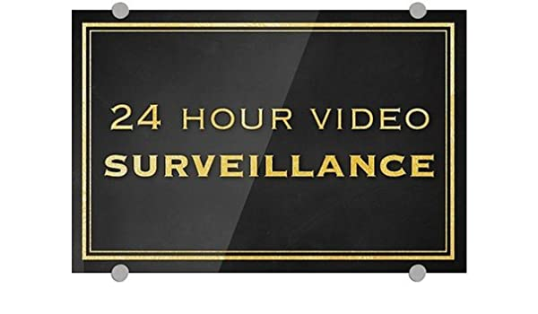 Stripes Gray Premium Brushed Aluminum Sign 24x6 CGSignLab 5-Pack 24 Hour Video Surveillance