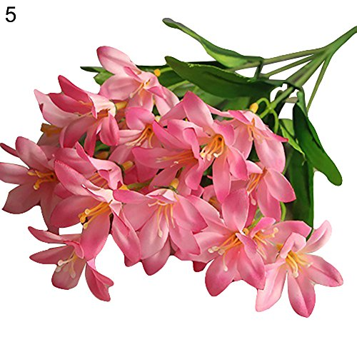 - Move on Artificial Lily Flowers, 1 Bouquet Fake Flowers Outdoor UV Resistant Greenery Shrubs Plants Indoor Outside Hanging Planter Home Garden Decor Pink