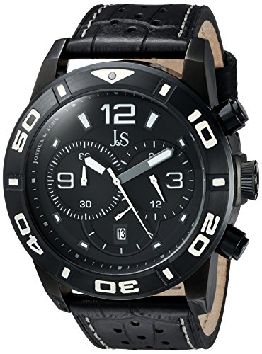 Joshua & Sons Men's JS60BK Black Multifunction Quartz Watch With Black Dial and Black Leather Strap