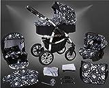 Milk Rock Baby Macano S Kinderwagen mit 3 Gestellfarben Safety-Set (Autositz & ISOFIX Basis, Regenschutz, Moskitonetz, Schwenkräder) MO67 White / Schwarz & Totenkopf
