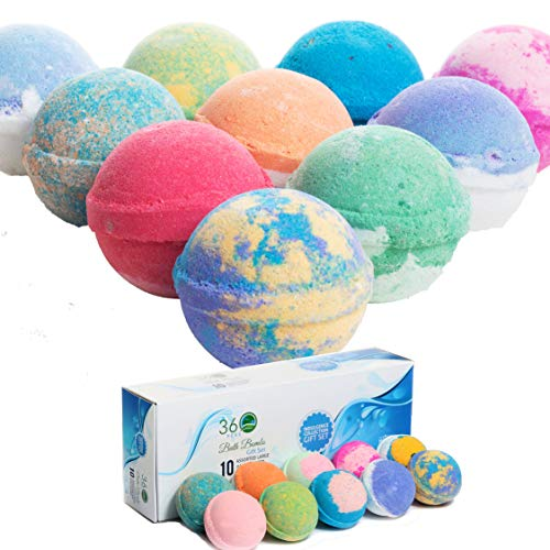 360Feel Bath Bombs Gift Set 10 USA made -Made with Essential Oil - Aromatherapy Organic Ultra Lush Bath Bomb Cosmetics for Women Men Kids - bathbombs gift for Anniversary, Wedding, Bulk Bath Bomb
