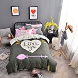 WarmGo 4 Piece Bedding Collection -I LOVE YOU Arrow Design 100% Cotton Duvet Cover Set with 2 Personality Pillowcases,Full/Queen -Not Include Comforter
