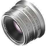 Fotga 25mm f1.8 Manual Focus HD/MC Prime Lens for Panasonic Olympus Micro 4/3 Mount GH1 GH2 GH3 GH4 GH5 GH5s E-PM1 E-PM2 E-PL1 E-PL2 E-PL3 E-M10 Mark II III Dslr Cameras Silver