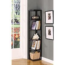 King's Brand Bk08 Wood Wall Corner 5-Tier Bookshelf Case, Espresso Finish