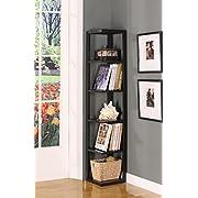 Kings Brand BK08 Wood Wall Corner 5-Tier Bookshelf Case, Espresso Finish