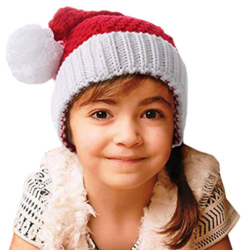 HindaWi Christmas Hat for Kids Santa Hats Beanie Knitted Ski Knit Warm Slouch Skull Caps]()