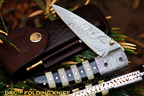 DKC-105-BUMBLE-BEE-Damascus-Folding-Pocket-Knife-45-Folded-8-Long-72oz-oz-High-Class-Looks-Incredible-Feels-Great-In-Your-Hand-And-Pocket-Hand-Made-DKC-Knives