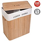 Tatkraft Carolina Large Bamboo Laundry Basket with 2 Compartments Textile Bag 105L