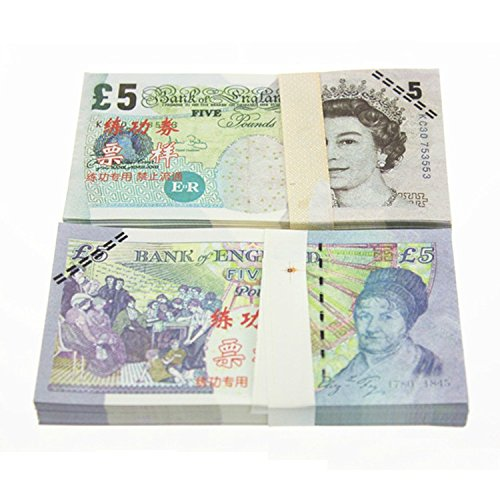 EWIBUSA Pound $5X100 Pcs Tota$500 Dollar Currency Props Money Bills Real Looking New Style Copy Double-Sided Printing - for Movie, TV, Videos, Advertising & Novelty