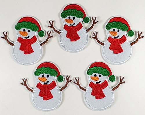 Supersevenday 6.7x6.2cm Set of 10pcs xmas Christmas snowman snow man Body Iron On Sew On Cloth Embroidered Patches Appliques Machine Embroidery Needlecraft Sewing projects