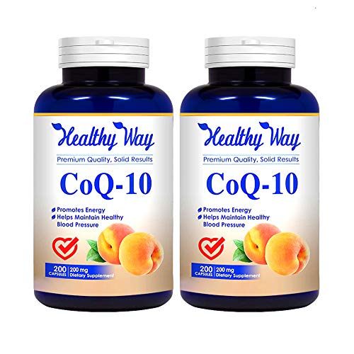 Healthy Way Pure CoQ10 200mg, 400 Capsules Supports Heart Health & Helps Maintain Healthy Blood Pressure, 2 Pack (400 Capsules) - Non-GMO USA Made 100% Money Back Guarantee - Order Risk Free!