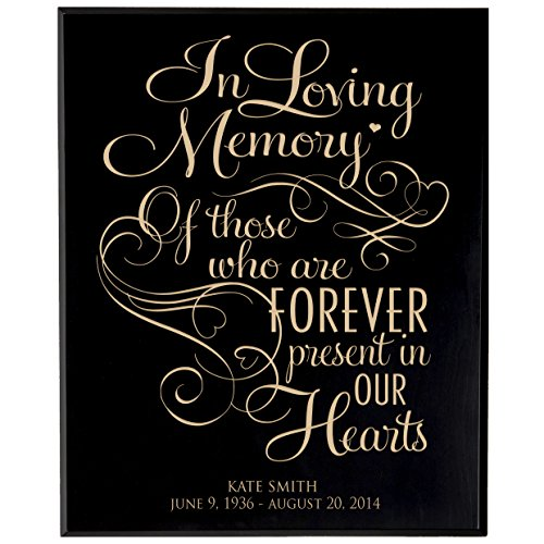 (LifeSong Milestones Personalized Wedding Memorial Gift, Sympathy Wall Plaque, in Loving Memory of Those Who are Forever Present, Custom Engraved Plaque Measures 12x15 USA Made (Black Veneer Wood))
