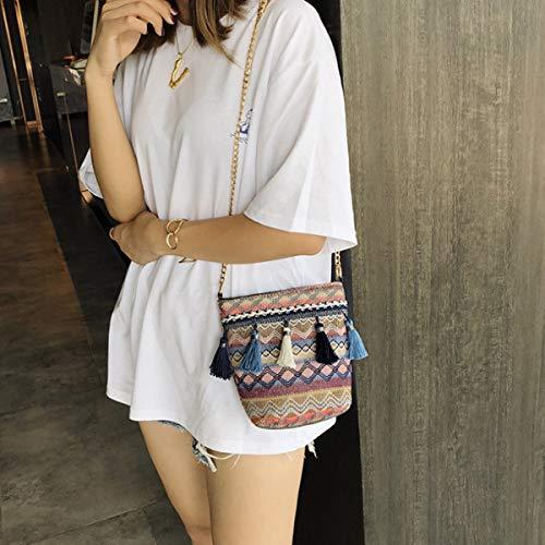 Mandmade Weave Straw Womens Bags 1 amp;Drawstring Tote Handbags Style Shoulder Holiday Beach Bgas Meliya Summer Chain fpq5f