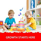 SealiveKids Baby Toy Plastic Stacking Rainbow Duck With Music and Light Ring Tower Educational Toys Rainbow Stack Up Toy, For 1-15 Years Children