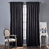 NICETOWN Living Room Blackout Velvet Curtains - Sound Reducing Heavy Matt Solid Rod Pocket Drapes/Panels (2 Panel Per Pack, 84 inch Long, Grey)