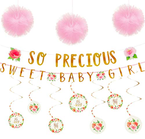Party City Boho Girl Baby Shower Decorating Supplies, Include 12 Swirl Decorations, 6 Pink Pom Poms, and Letter Banners -