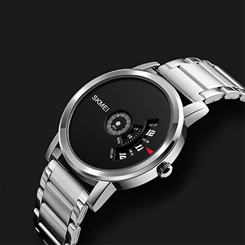 MeterMall - SKMEI Fashion Men Luxury Watch Concise Round Dial Quartz Wristwatch (Silver)