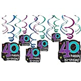 The Party Continues 40th Birthday Party Hanging Swirl Ceiling Decoration, Pack of 12, Multi , 9.5