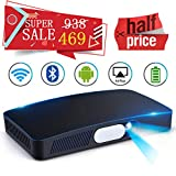 Mini HD Projector Multimedia 5.5~200 Home Video Theater 3000 Lumens Game Office Support 1080P WIFI Bluetooth HDMI USB SD Card VGA AV for Home Cinema TV Laptop Tablet iPhone Android
