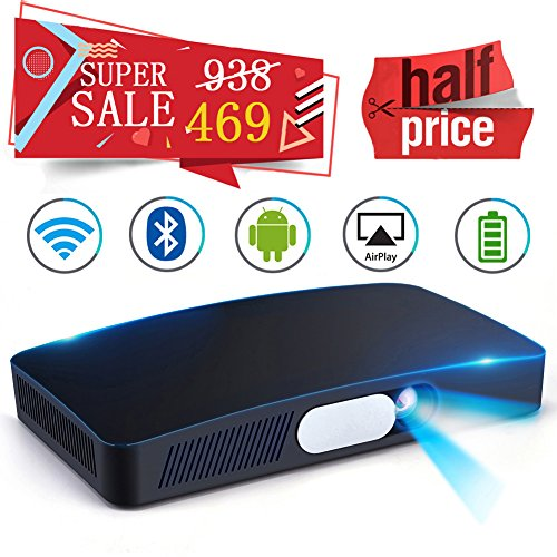 "Mini HD Projector Multimedia 5.5""~200"" Home Video Theater 3000 Lumens Game Office Support 1080P WIFI Bluetooth HDMI USB SD Card VGA AV for Home Cinema TV Laptop Tablet iPhone Android"
