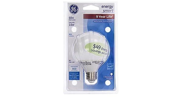 Amazon.com: GE 15-Watt, Energy Smart Compact Fluorescent Globe Bulb, Soft White, Equivalent to 60-Watt, G25 Bulb Shape, 1-pk, 120-Volt: Health & Personal ...