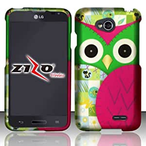 Rubberized Plastic Green Owl Hard Cover Snap On Case For LG Optimus L70 + Free Screen Protector (Accessorys4Less)