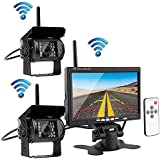 Podofo Wireless Vehicle 2 x Backup Cameras Parking Assistance System Ir Night Vision Waterproof Rear View Camera + 7 Monitor for RV Truck Trailer Bus