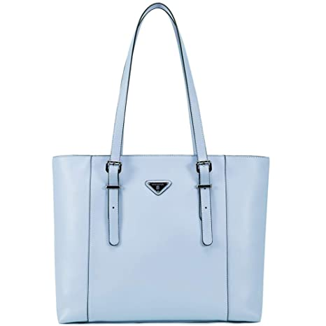 836a94f6349a BOSTANTEN Women Briefcase Leather Laptop Tote Handbags 15.6 inch Computer  Shoulder Bags Blue